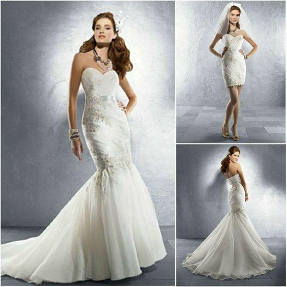 Imagina un vestido de novia destinado a ser el vestido de tus sueños y cumplir con el protocolo en la ceremonia. Y ahora imagínate disfrutando en la fiesta saltando y bailando pero con un vestido cómodo, corto y muy sexy como si se tratase de un segundo vestido para tu boda.