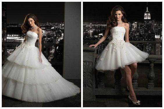Con los vestidos de novia desmontables cambiarse para la fiesta de casamiento is a breeze.