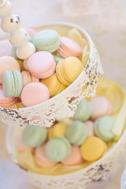 Beautiful wedding macaron tower in pastel tones.