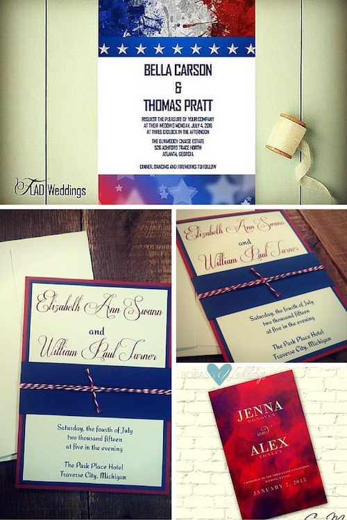 4th of July wedding invitations!! Printable or printed 4th of July wedding invitations. Simple and elegant wedding invitations for a red white a blue wedding. Love this wedding program in shades of red.