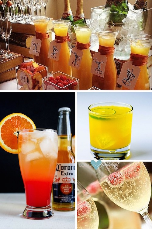 Beverage ideas for brunch weddings. Mimosa bar. Corona Sunrise cocktails are made with tequila, orange juice, grenadine, orange juice and Corona Extra. Screw-driver. Ginger ale punch, looks like champagne, doesn't it?