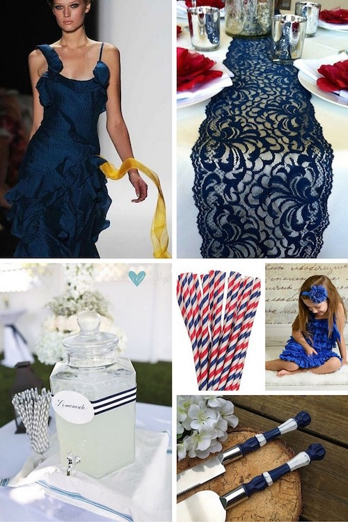 Blue 4th of July wedding ideas: Carolina Herrera in blue. Navy blue vintage lace table runner: throw in some red napkins and glam all over! Decorate your drink dispensers with blue or red ribbons. Red, white and blue striped straws. Adorable looks for flower girls in red, white or blue! Gorgeous knife and cake server set.