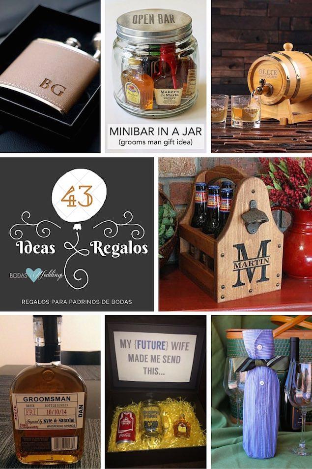 Clásicos regalos para padrinos de boda. Finísima petaca de metal cubierta en piel. Un proyecto que puedes hacer tu mismo: un minibar en un jar. Barriles de whisky personalizados, no son adorables? Los accesorios para bebidas como regalos para padrinos de boda son un clásico que nunca falla: caja de madera personalizada para cerveza. Etiquetas para botellas de whisky. Graciosa manera de personalizar la caja con regalos para tus padrinos de boda. Una manera original y económica para presentar los regalos para padrinos de boda: una manga muy corporativa.