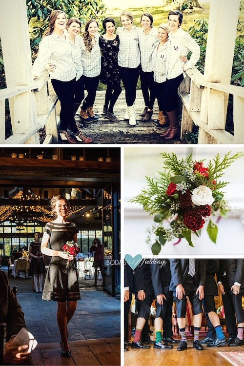 Ideas para una boda rústica invernal: damas, boutonieres y zapatos y calcetines invernales del novio coordinadas con los groomsmen.