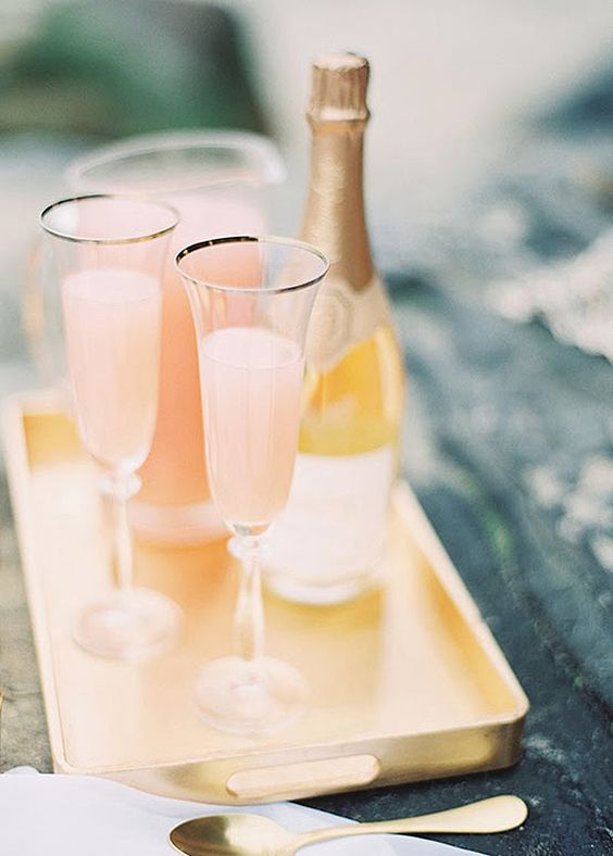 Brunch Wedding Inspiration: Peach Prosecco Bellinis captured by Ashley Kelemen Photography