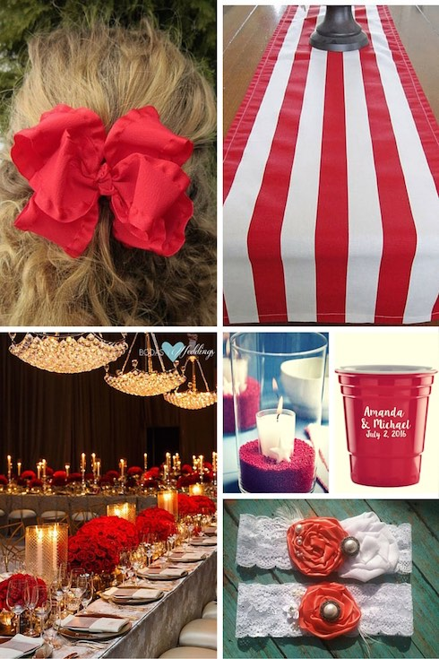 Red 4th Of July Wedding Ideas Bow Hair Accessory A Striped Table Runner