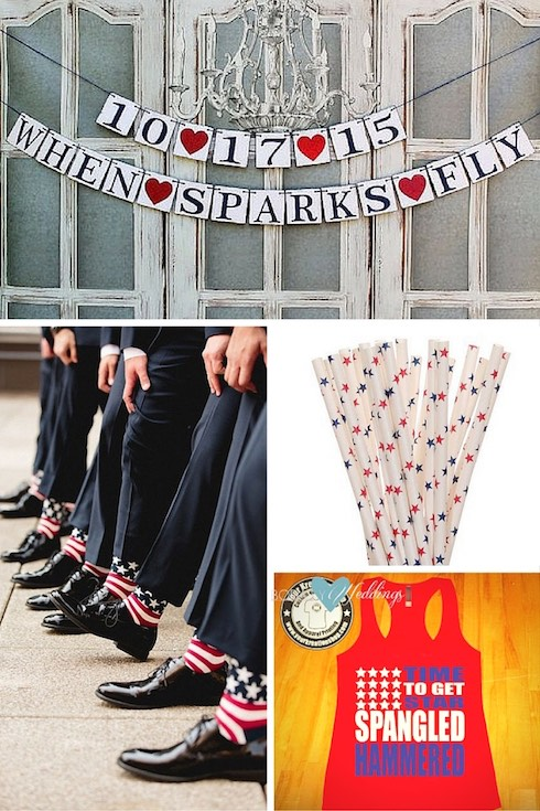 Star-filled 4th of July wedding ideas!!! An elegant red, white and blue garland. Another fun, preppy and original idea, groom's socks American-style. Get some of these T-Shirts for your bridesmaids and let the fun begin! Love these starry straws!