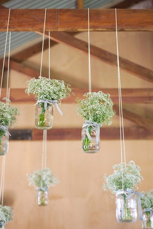 Baby's breath flowers as hanging decor.