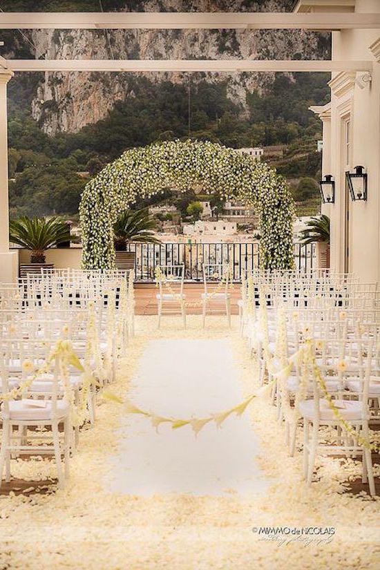 Baby's breath wedding arch. Capri wedding at Amalfi Coast Italy. St Bart Weddings.