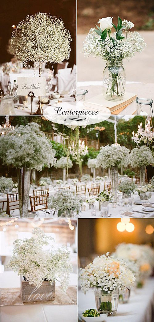 Baby's breath wedding decor. Budget-friendly white and original wedding centerpieces.