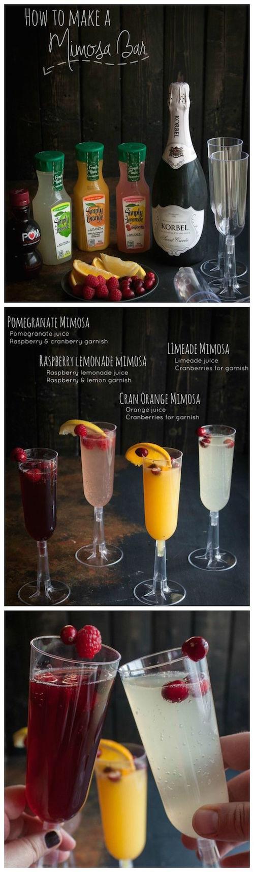 Otra idea tropical para tu barra de bebidas para bodas: un mimosa bar.