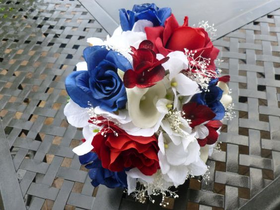 Preppy red, white and blue bridal bouquet.