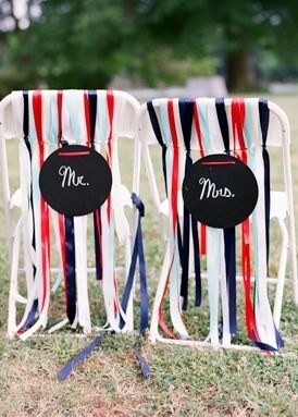 Wrap the bride and groom's chairs in red, white and blue ribbons. Love it!!
