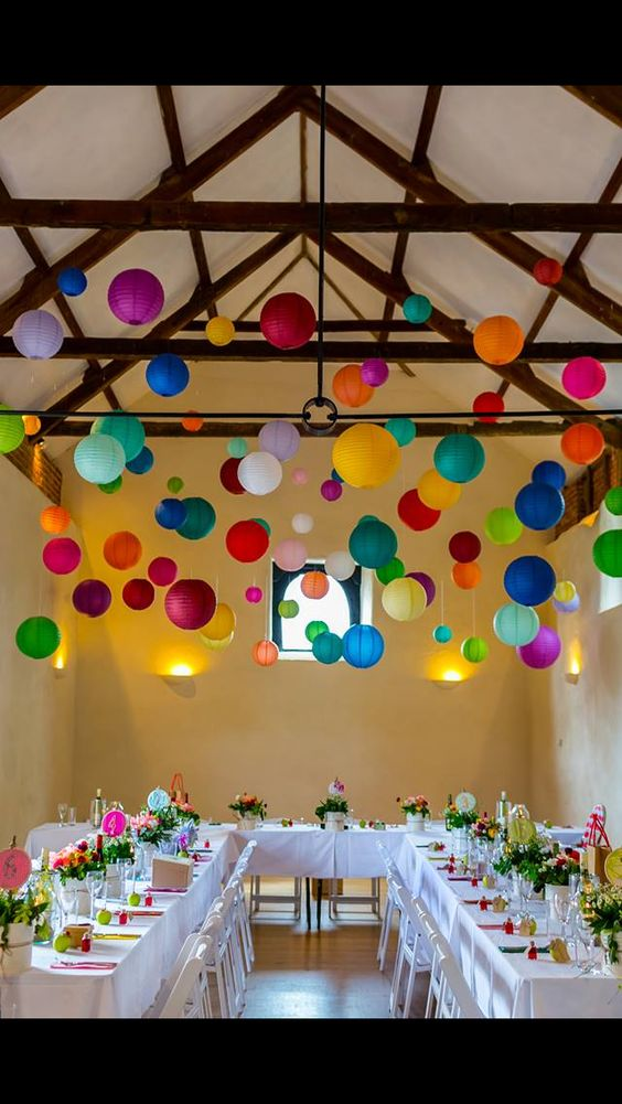 Multi colored paper lanterns, perfect for anything that needs to say festive like brunch weddings!!!