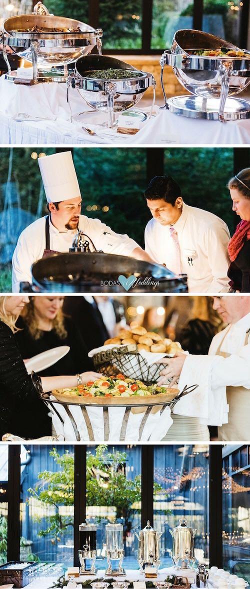 Comida de boda estilo buffet. Para la comida de bodas estilo buffet con varias estaciones atendidas por chefs | Coffee bar invernal.