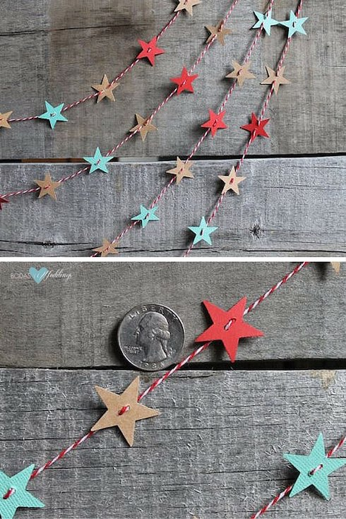 These star-shaped paper garlands will add a touch of cheer and fun to your wedding decor.