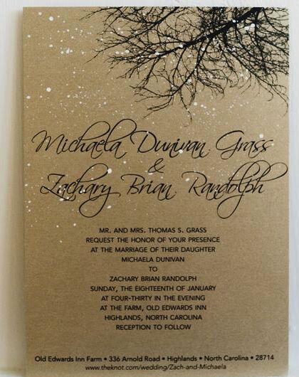 La invitación de la boda ya anunciaba un look rústico glam e invernal. Bodas reales.