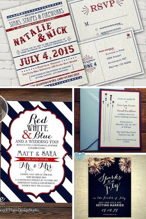 Personalized digital wedding invitation and RSVP. Printable 4th Of July rehearsal dinner invitation. Super cool! Let the sparks fly on your 4th of July wedding with these adorable wedding invites. Love American-Style on these wedding invites.