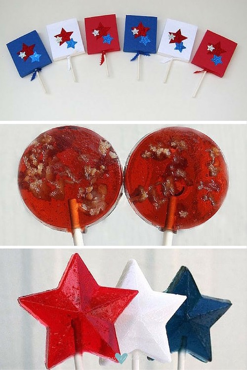 Wedding favors fit for a 4th of July Wedding. OMG! Bacon wedding favor lollipops! Red white and blue lollipop stars. A terrific idea for a 4th of July wedding.