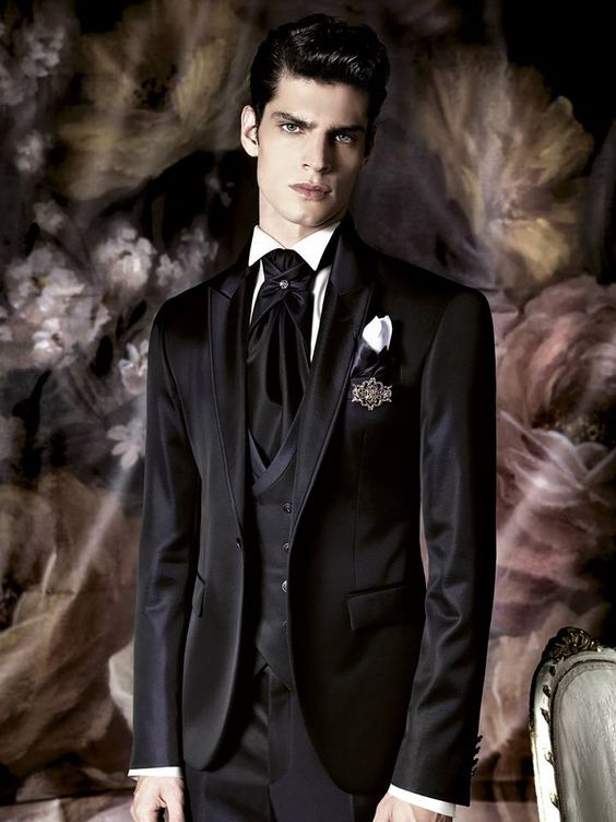 El look en negro y blanco en trajes para novios de Carlo Pignatelli 2016.