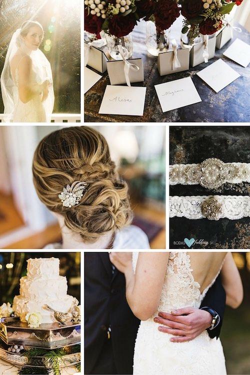 Peinado de novia y detalles del vestido de una boda invernal rústica glam. Vestido de novia y velo | Los ramos de flores de las novias de honor | Detalle glam en el tocado de la novia | Ligueros de novia | Pastel de bodas | Detalle del vestido de novia