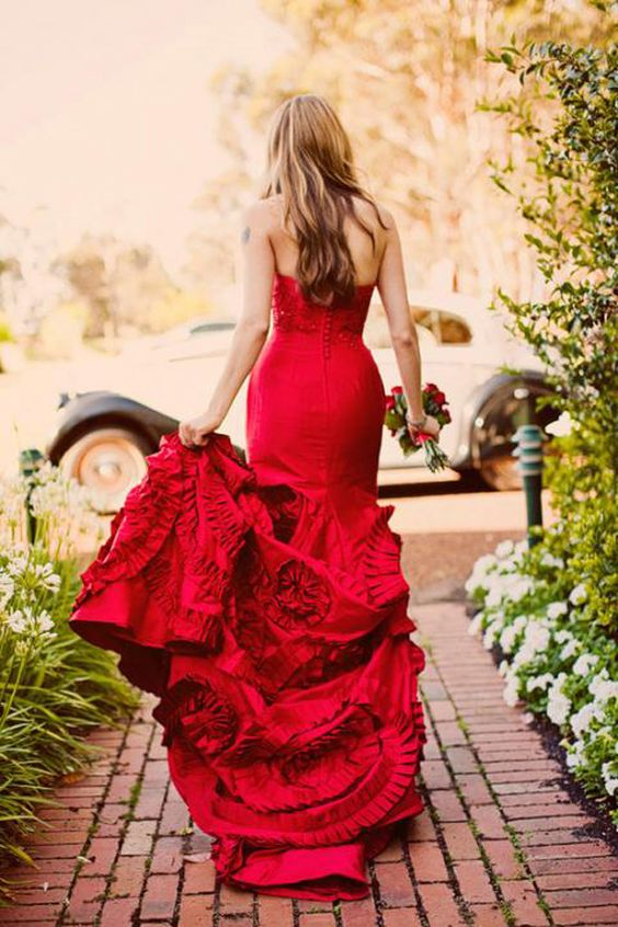 Wear a gorgeous red wedding gown to your 4th of July wedding!