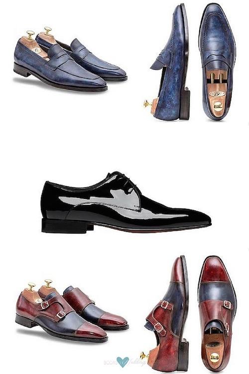 Zapatos para novios con estilo. Para lograr un look atemporal, un smoking precisa ser complementado con zapatos de charol y una pajarita. Truco de moda: Coordina la tela de la solapa con el moño.