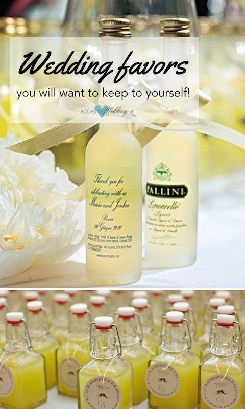 Adorable limoncello bottles reminiscent of alfresco Italian dinners. Favors.