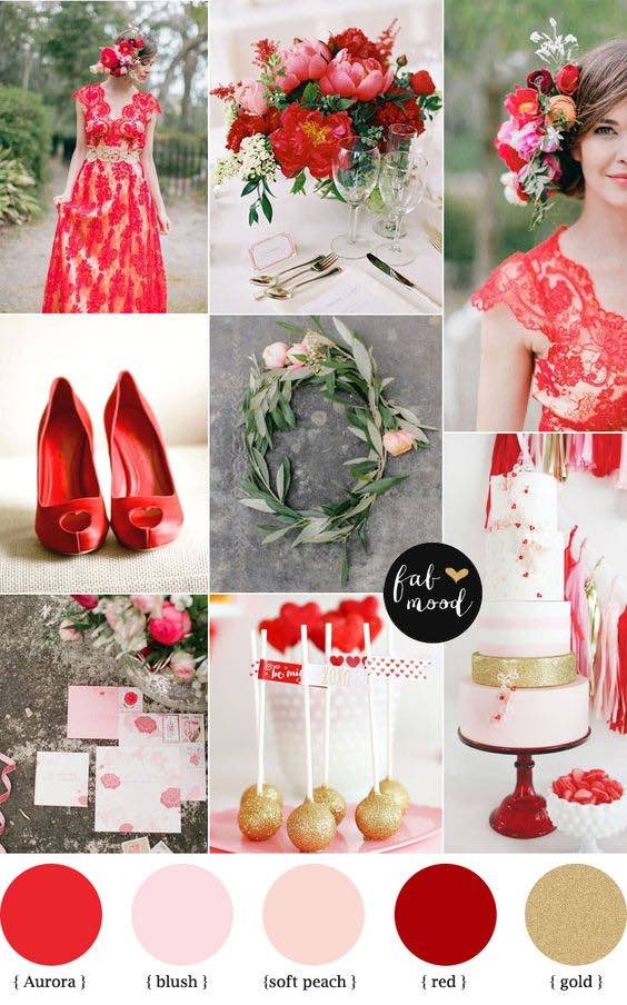 Aurora, red and gold wedding ideas. Generous, deep colors such as plum and carmine red flourish with metallic accents of gold, brass and copper.