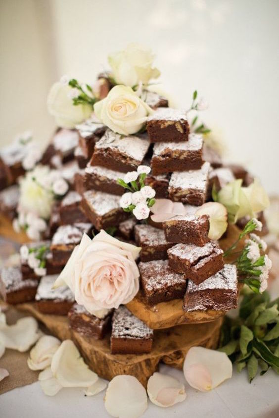 Brownie tower. Unusual wedding cake tower ideas.