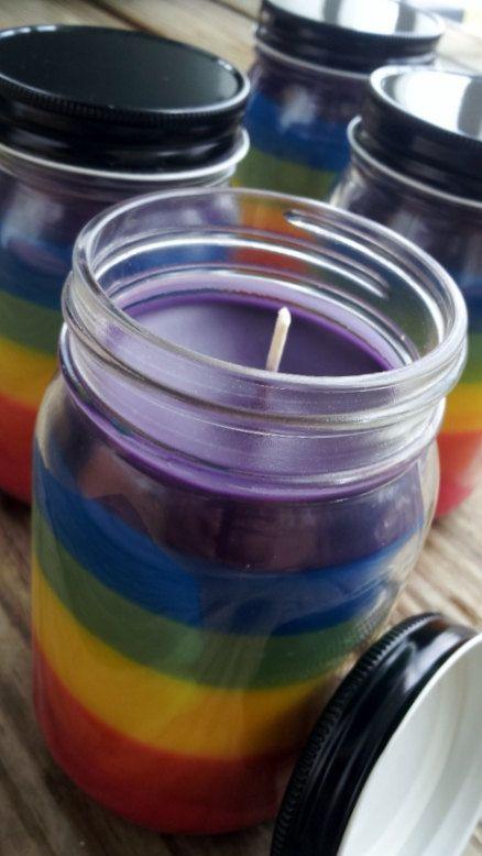Chakra rainbow jar candle. Hippie wedding anyone?