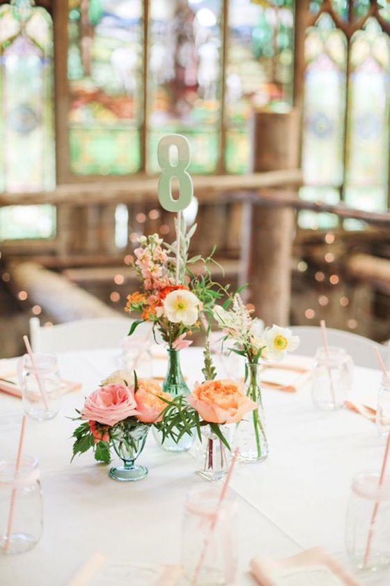 Cute DIY wedding flower centerpiece idea. A whimsical boho barn wedding in Colorado by Connie Whitlock Photography.