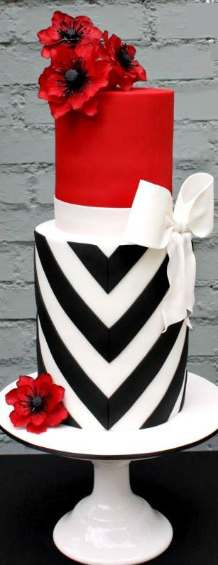 Elegant stripes and bold poppies cake. This cake definitely makes a statement.