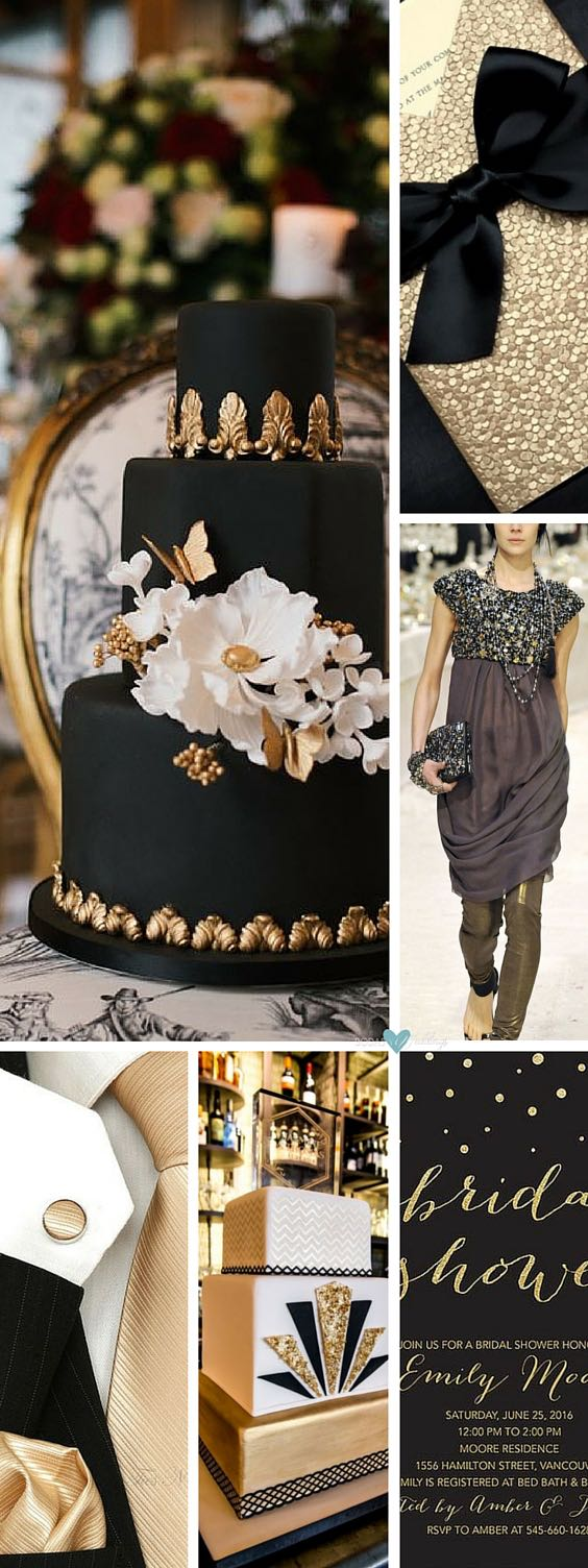 Gold deco wedding: A dramatic black and gold wedding cake will be a showstopper at your wedding reception | Square invites in gold and champagne | Shine in Chanel | Gold wedding tie with matching cufflinks and handkerchief | Art Deco vintage-themed gold wedding cake | Bridal shower invitation for a modern gold wedding..