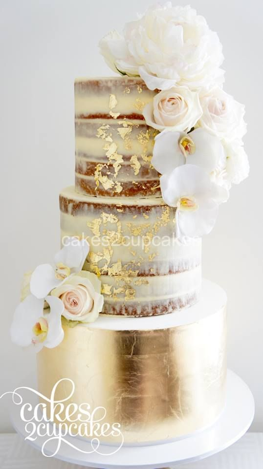 Half Dressed Or Semi Naked Wedding Cake With Gold Leaf And Fresh Flowers By Cakes2Cupcakes