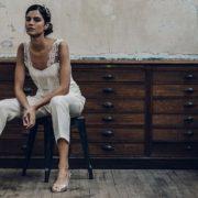 Precioso conjunto de pantalón y top en encaje francés de Laure de Sagazan.