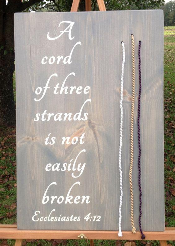 Pasaje biblico con tres hilos que significan unidad. A cord of three strands wedding unity.