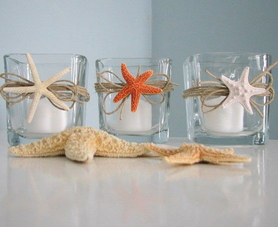 Recuerdos para bodas en la playa paso a paso Beach wedding favors: Starfish candle votives.