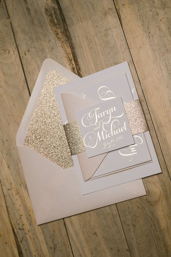 Rose gold foil stamping, blush and glitter wedding invitation set.