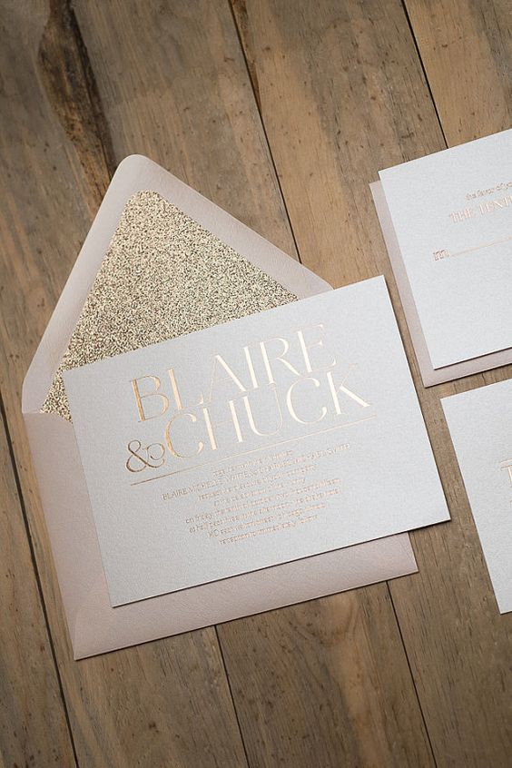 Rose gold foil wedding invitations.