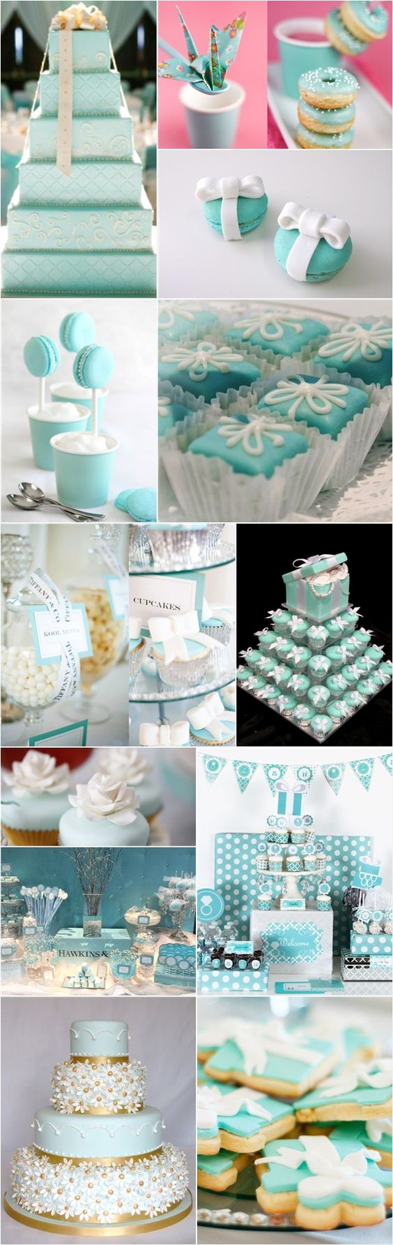 Tiffany-inspired elegant wedding cake designs.