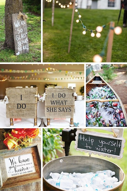 Barn wedding decor ideas. Welcome your guests with this sign | DIY light fixtures for an outdoor evening wedding reception | Bride and Groom burlap chair cover signs | Adding a canoe to your wedding brings some rustic charm | We know you would be here if heaven wasn't so far away wedding memorial sign | Keep guests hydrated on those hot summer weddings