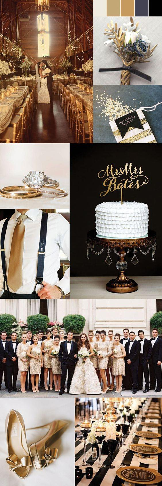 Black and gold wedding ideas. The choices are many, so there are no excuses to not surprise your guests with a dream wedding wrapped in gold. Check out these ideas!