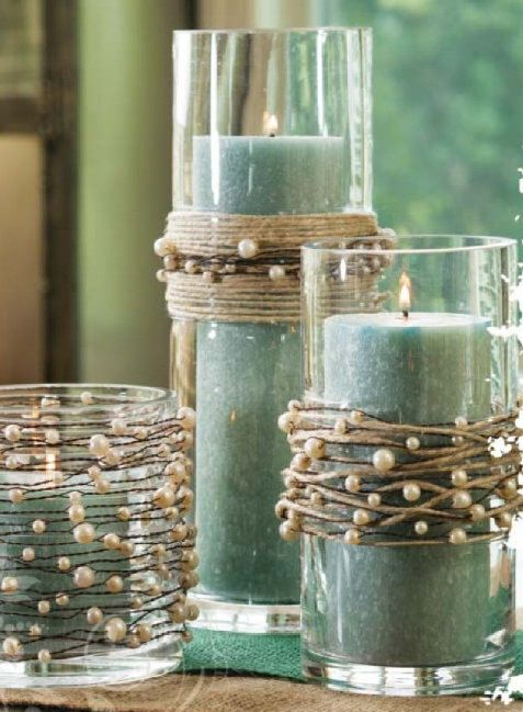 Decorate candles as wedding favors. Pearl beads on wire garland with jute twine