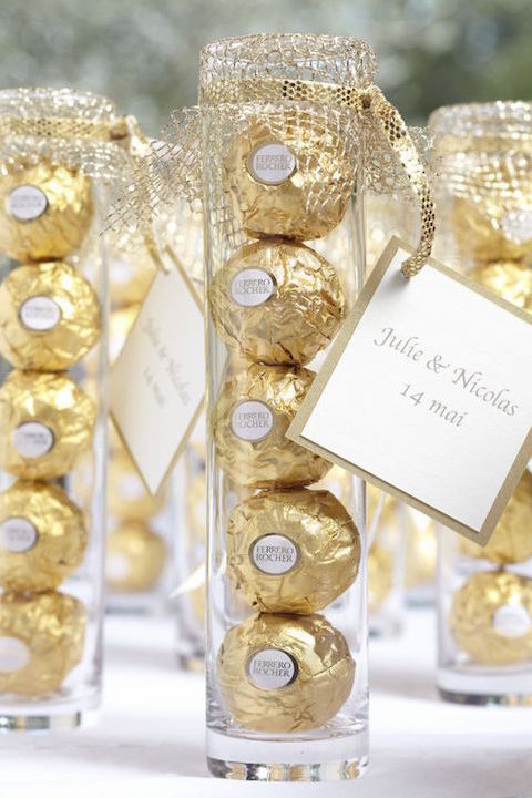 Edible Ferrero Rocher wedding favors.