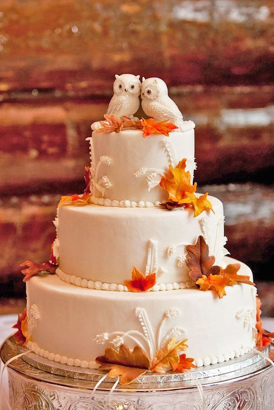 "Such a cute idea for a fall wedding cake. A pair of owls as a cake topper because ""Owl Always Love You"""