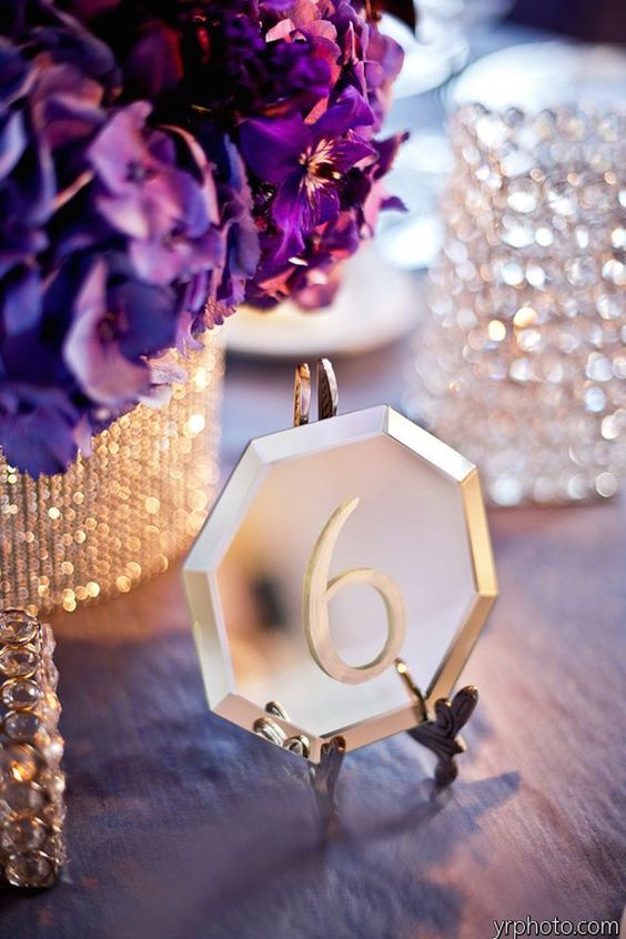 The new glam wedding trend: mirror signs as table numbers.