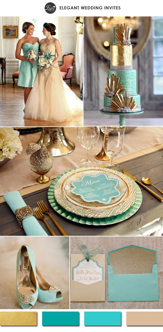 Metallic gold and teal tiffany-inspired vintage wedding color ideas.