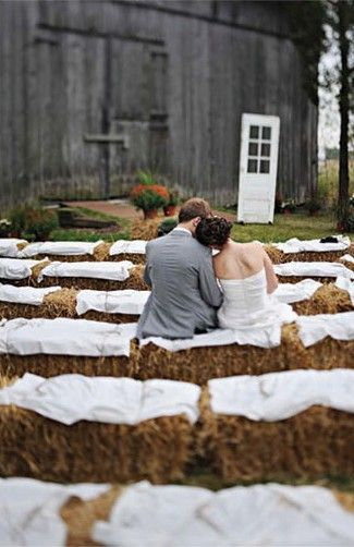 Love this idea of having hay bales as seats but remember to have real chairs for older guests.