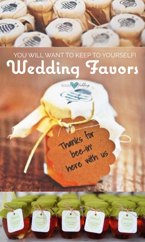 Little jars of honey as favors. Honey wedding favors. Thanks for bee-ing here with us!